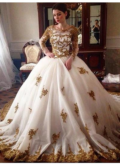 Duchesse-Stil U-Ausschnitt Hofschleppe Lange Ärmel Tüll Brautkleid