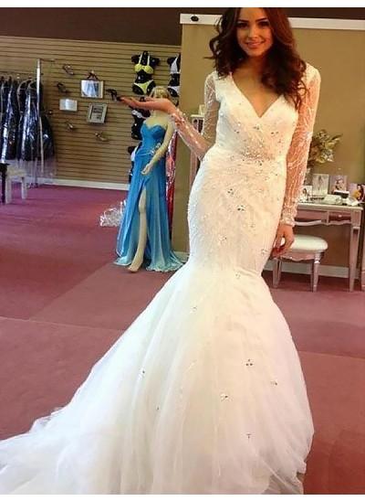 Trompeten-/Meerjungfrauenkleider V-Ausschnitt Hofschleppe Lange Ärmel Tüll Hochzeitskleid mit Perlenstickereien