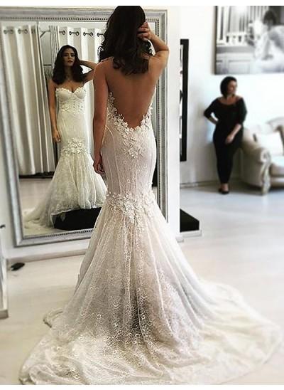 Trompeten-/Meerjungfrauenkleider Herzausschnitt Pinselschleppe Ärmellos Brautkleid