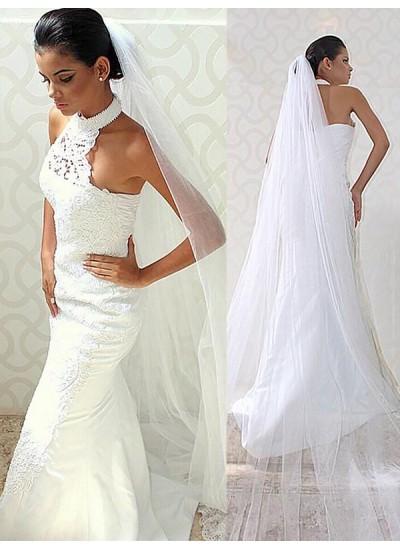 Trompeten-/Meerjungfrauenkleider Neckholder Pinselschleppe Ärmellos Satin Hochzeitskleid