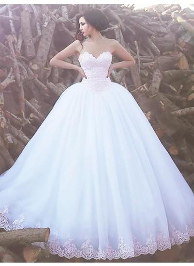 Duchesse-Stil Herzausschnitt Pinselschleppe Ärmellos Organza Brautkleid