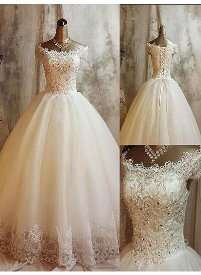 Duchesse-Stil Schulterfrei Pinselschleppe Ärmellos Tüll Hochzeitskleid mit Applikationen