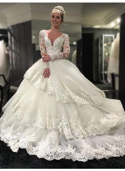 Duchesse-Stil V-Ausschnitt Hofschleppe Lange Ärmel Tüll Brautkleid