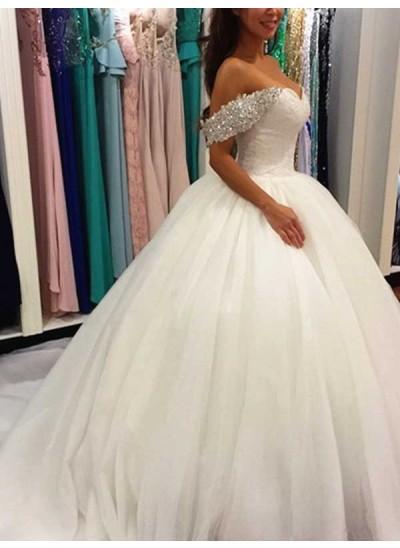 Duchesse-Stil Schulterfrei Sweep Brush Train Ärmellos Tüll Brautkleid mit Perlenstickereien