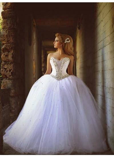 Duchesse-Stil Herzausschnitt Hofschleppe Ärmellos Tüll Brautkleid