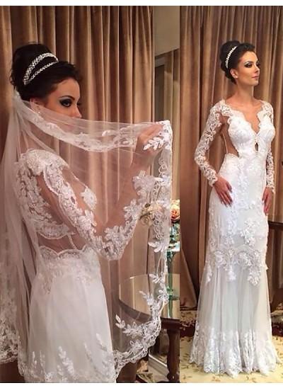 Etui-Linie V-Ausschnitt Pinselschleppe Lange Ärmel Tüll Hochzeitskleid
