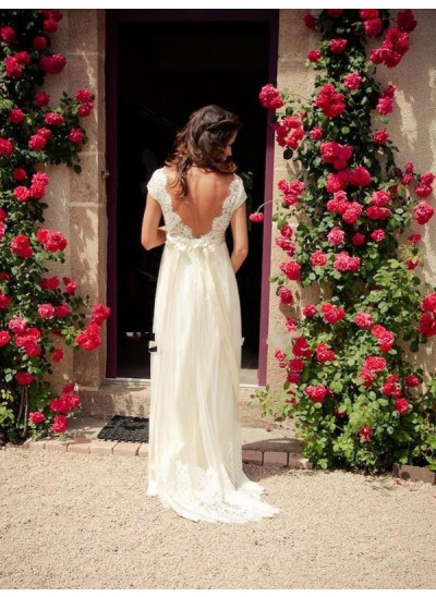 A-Linien-/Princess-Stil V-Ausschnitt Pinselschleppe Ärmellos Tüll Brautkleid