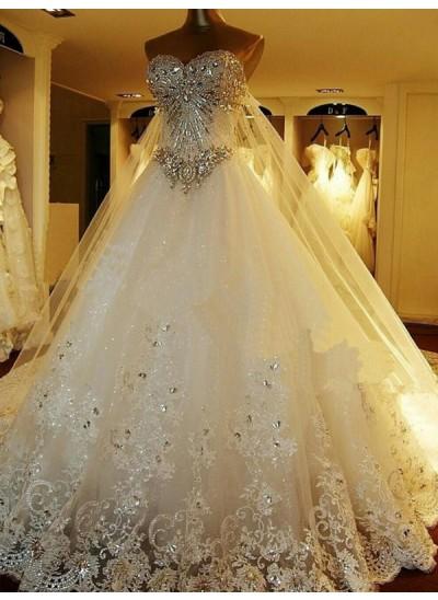 Duchesse-Stil Herzausschnitt Hofschleppe Ärmellos Tüll Brautkleid mit Perlenstickereien