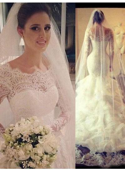 Trompeten-/Meerjungfrauenkleider U-Ausschnitt Hofschleppe Lange Ärmel Tüll Hochzeitskleid mit Spitze