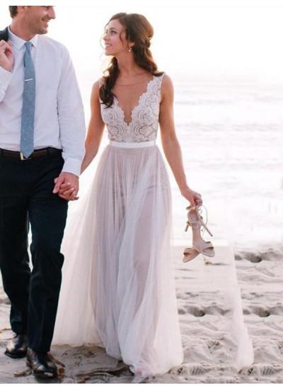 A-Linien-/Princess-Stil U-Ausschnitt Bodenlang Ärmellos Tüll Brautkleid mit Spitze