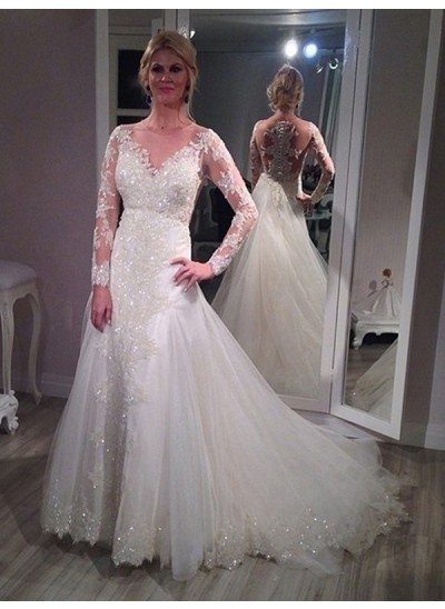 A-Linien-/Princess-Stil V-Ausschnitt Pinselschleppe Lange Ärmel Tüll Brautkleid mit Ziermünzen