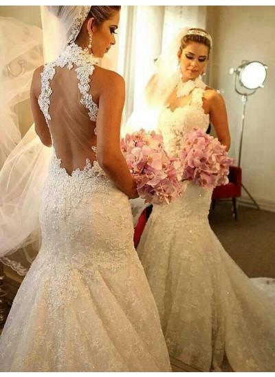 Trompeten-/Meerjungfrauenkleider Stehkragen Hofschleppe Ärmellos Hochzeitskleid mit Spitze
