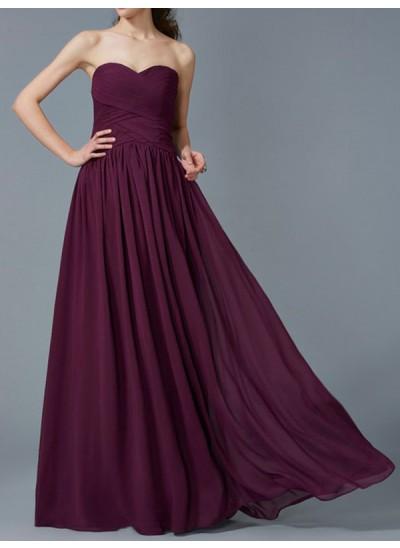 A-Linien-/Princess-Stil Herzausschnitt Bodenlang Chiffon Brautjungfernkleid mit Rüschen