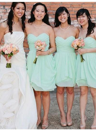 A-Linien-/Princess-Stil Herzausschnitt Chiffon Kurze Ärmellos Brautjungfernkleid