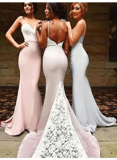 Trompeten-/Meerjungfrauenkleider Herzausschnitt Spandex Pinselschleppe Ärmellos Brautjungfernkleid mit Spitze