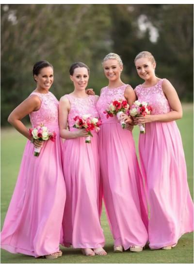 A-Linien-/Princess-Stil U-Ausschnitt Chiffon Bodenlang Ärmellos Brautjungfernkleid mit Spitze