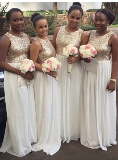A-Linien-/Princess-Stil U-Ausschnitt Chiffon Bodenlang Ärmellos Brautjungfernkleid mit Paillette
