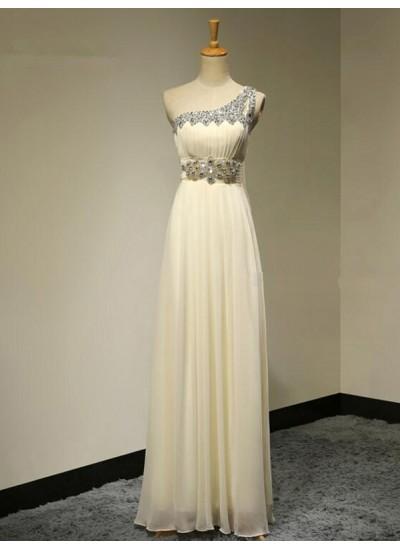 A-Linien-/Princess-Stil One-Shoulder-Träger Chiffon Bodenlang Ärmellos Brautjungfernkleid mit Perlenstickereien