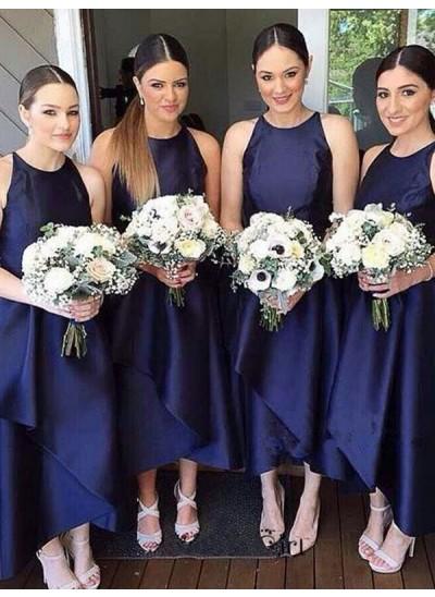 A-Linien-/Princess-Stil U-Ausschnitt Satin Asymmetrisch Ärmellos Brautjungfernkleid mit Schichten