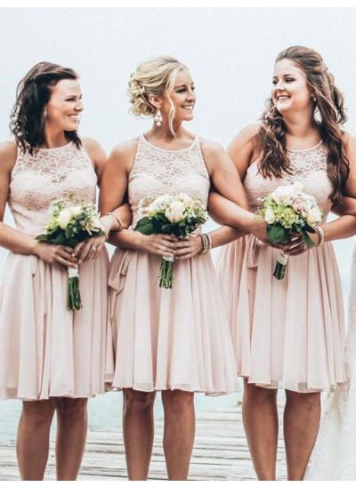 A-Linien-/Princess-Stil U-Ausschnitt Chiffon Kurze Ärmellos Brautjungfernkleid