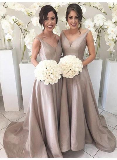 A-Linien-/Princess-Stil V-Ausschnitt Taft Pinselschleppe Ärmellos Brautjungfernkleid