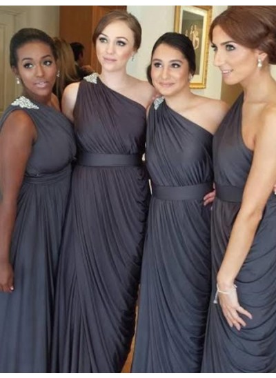 Etui-Linie One-Shoulder-Träger Chiffon Bodenlang Ärmellos Brautjungfernkleid