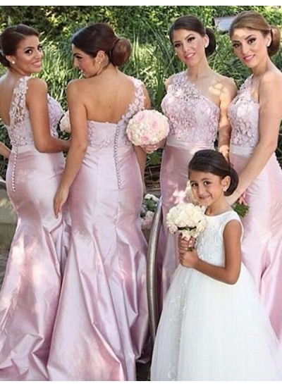 Trompeten-/Meerjungfrauenkleider One-Shoulder-Träger Satin Bodenlang Ärmellos Brautjungfernkleid
