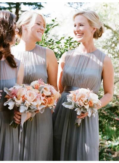 A-Linien-/Princess-Stil U-Ausschnitt Chiffon Bodenlang Ärmellos Brautjungfernkleid