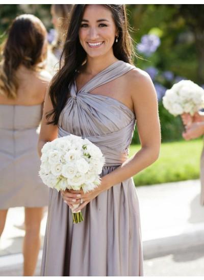 A-Linien-/Princess-Stil Satin Bodenlang Ärmellos Brautjungfernkleid
