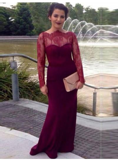 Etui-Linie U-Ausschnitt Bodenlang Chiffon Ballkleid Abendkleid mit Spitze