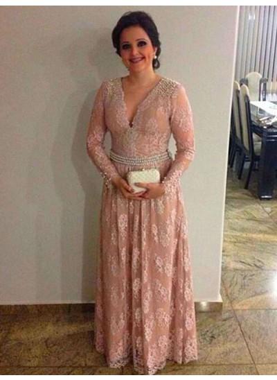 A-Linien-/Princess-Stil V-Ausschnitt Lange Ärmel Spitze Bodenlang Brautmutterkleid mit Perlen