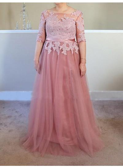 A-Linien-/Princess-Stil Bateau-Ausschnitt Halbe Ärmel Bodenlang Tüll Brautmutterkleid in Übergröße mit Applikationen