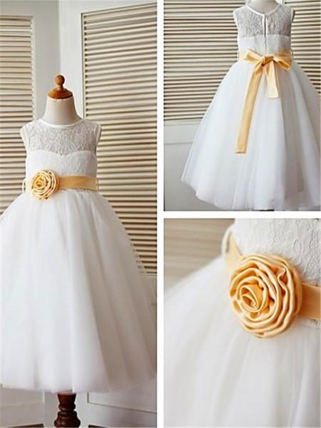 A-Linien-/Princess-Stil Wadenlang U-Ausschnitt Spitze Tüll Blumenmädchenkleid mit Strasssteine