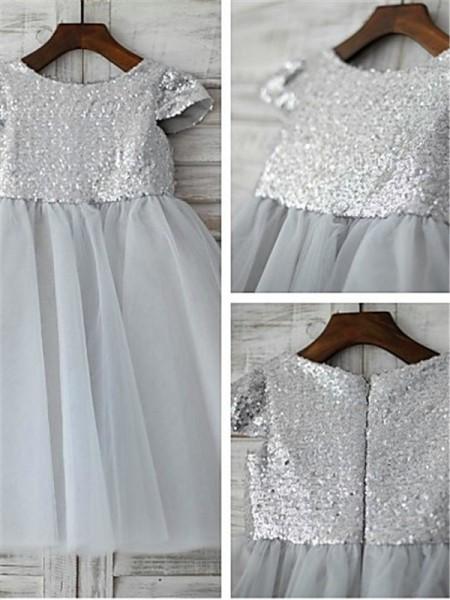 A-Linien-/Princess-Stil U-Ausschnitt Kurze Ärmel Bodenlang Tüll Blumenmädchenkleid mit Ziermünzen