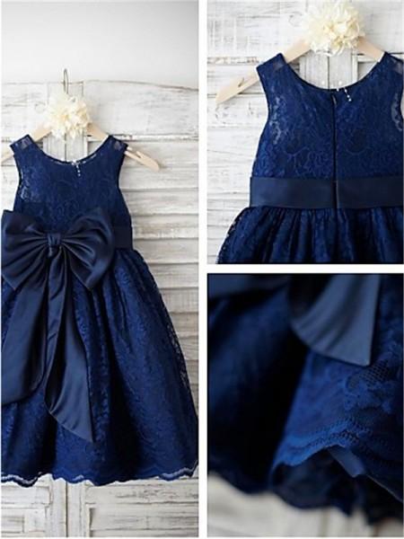 A-Linien-/Princess-Stil U-Ausschnitt Bodenlang Spitze Blumenmädchenkleid mit Perlenstickereien Schleifen