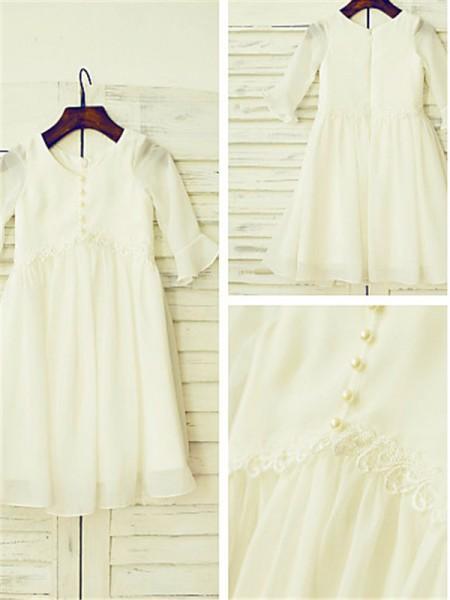 A-Linien-/Princess-Stil U-Ausschnitt Lange Ärmel Bodenlang Chiffon Blumenmädchenkleid mit Perlenstickereien Rüschen