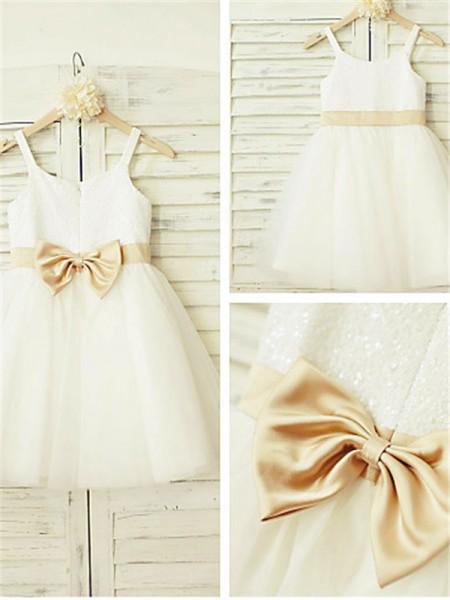 A-Linien-/Princess-Stil Spaghetti Träger Bodenlang Tüll Blumenmädchenkleid mit Perlenstickereien Schleifen