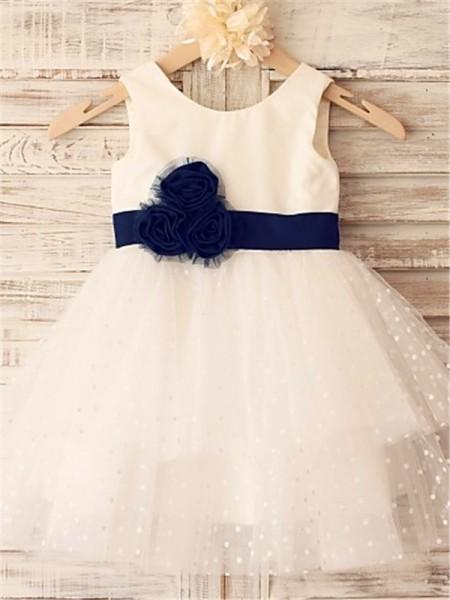 A-Linien-/Princess-Stil U-Ausschnitt Wadenlang Organza Blumenmädchenkleid mit Rüschen Handgemachte Blumen