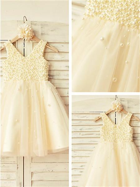 A-Linien-/Princess-Stil V-Ausschnitt Wadenlang Tüll Blumenmädchenkleid mit Perlenstickereien Perlen