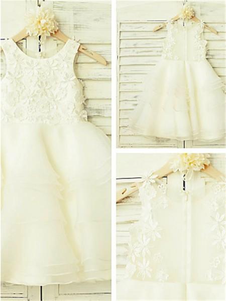 A-Linien-/Princess-Stil U-Ausschnitt Spitze Bodenlang Tüll Blumenmädchenkleid mit Rüschen