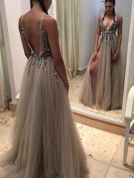 A-Linien-/Princess-Stil V-Ausschnitt Bodenlang Tüll Abendkleid mit Paillette Schlitz
