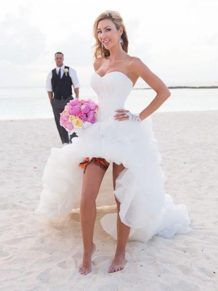 A-Linien-/Princess-Stil Herzausschnitt Asymmetrisch Ärmellos Organza Stand Hochzeitskleid