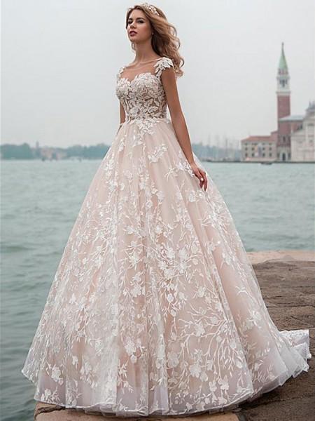 A-Linien-/Princess-Stil U-Ausschnitt Hofschleppe Kappenhülsen Tüll Brautkleid mit Spitze Applikationen